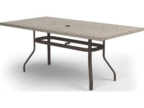 Homecrest Stonegate Aluminum 84 x 42 Rectangular Balcony Table with Umbrella Hole