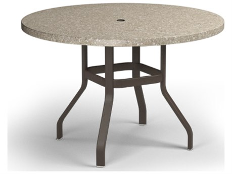 Homecrest Stonegate Aluminum 42 Round Balcony Table with Umbrella Hole
