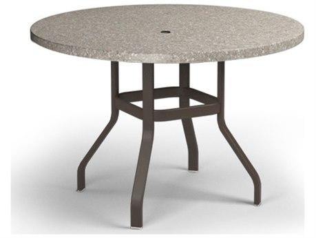 Homecrest Shadow Rock Aluminum 42 Round Balcony Table with Umbrella Hole