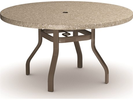 Homecrest Stonegate Aluminum 42 Round Dining Table with Umbrella Hole
