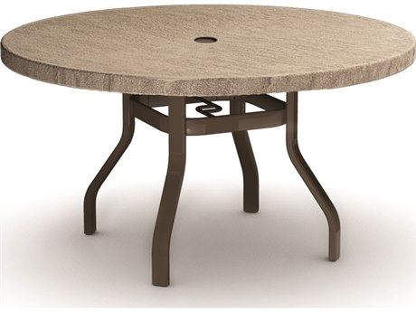 Homecrest Slate Aluminum 42 Round Dining Table with Umbrella Hole