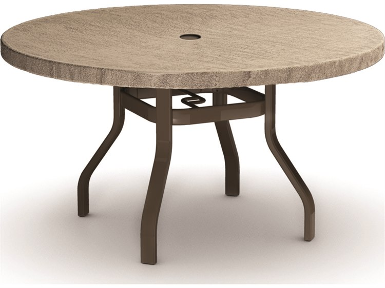 Homecrest Slate Aluminum 42 Round Dining Table with Umbrella Hole