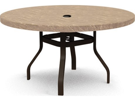 Homecrest Sandstone Aluminum 42''Wide Round Dining Table with Umbrella Hole PatioLiving