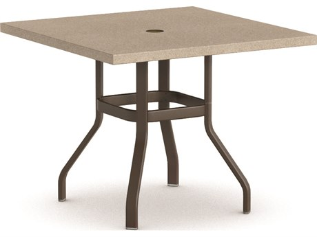 Homecrest Stonegate Aluminum 42 Square Balcony Table with Umbrella Hole