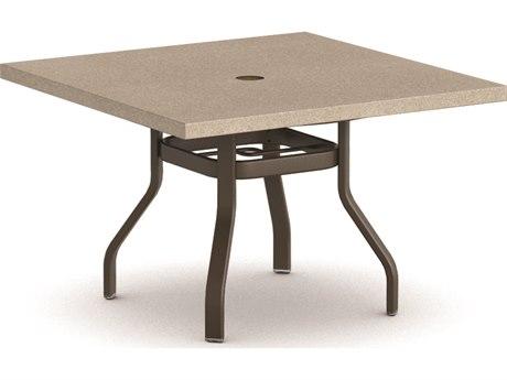 Homecrest Stonegate Aluminum 42 Square Dining Table with Umbrella Hole HC3742SDSG