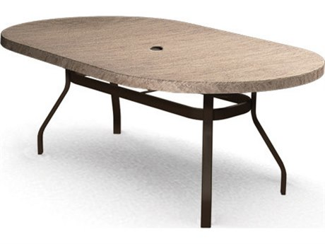Homecrest Slate Aluminum 84 x 44 Oval Counter Table with Umbrella Hole