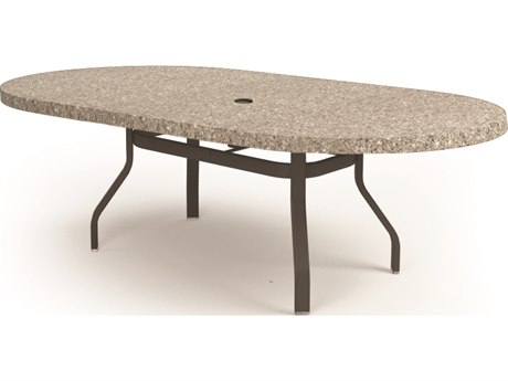 Homecrest Shadow Rock Aluminum 84 x 44 Oval Dining Table with Umbrella Hole