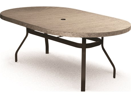 Homecrest Slate Aluminum 84 x 44 Oval Dining Table with Umbrella Hole