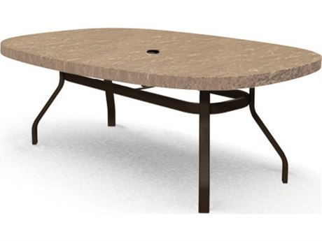 Homecrest Sandstone Faux Aluminum 84''W x 47''D Oval Dining Table with Umbrella Hole PatioLiving