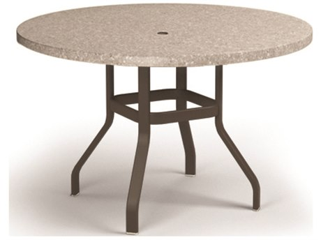 Homecrest Shadow Rock Aluminum 48 Round Balcony Table with Umbrella Hole