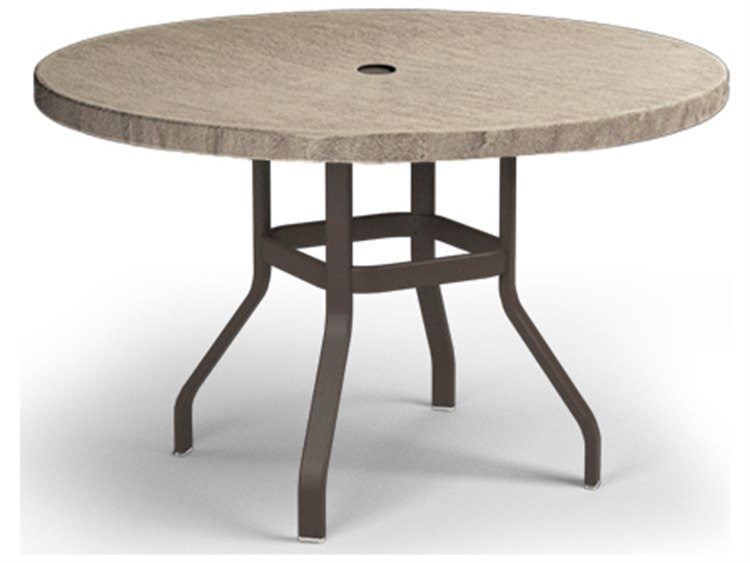 Homecrest Slate Aluminum 48 Round Balcony Table with Umbrella Hole