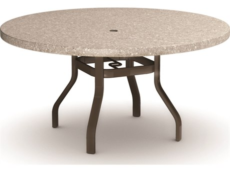 Homecrest Shadow Rock Aluminum 48 Round Dining Table with Umbrella Hole