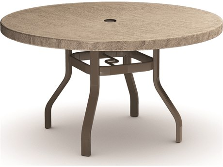 Homecrest Slate Aluminum 48 Round Dining Table with Umbrella Hole