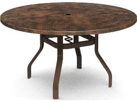 Homecrest Hammered Aluminum 54 Round Balcony Table with Umbrella Hole