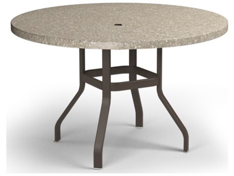 Homecrest Stonegate Aluminum 54 Round Balcony Table with Umbrella Hole