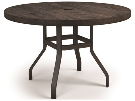 Homecrest Timber Aluminum 54 Round Balcony Table with Umbrella Hole
