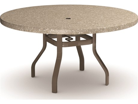 Homecrest Stonegate Aluminum 54 Round Dining Table with Umbrella Hole
