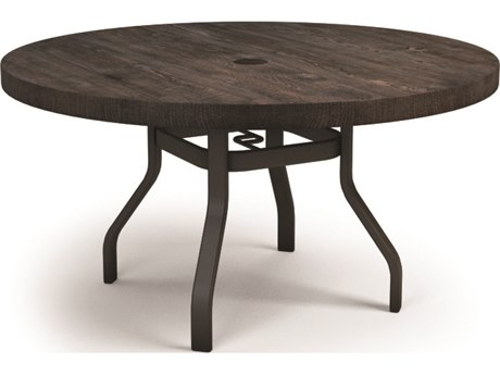 Homecrest Timber Aluminum 54 Round Dining Table with Umbrella Hole