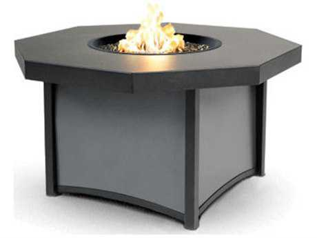 Homecrest Lunar Aluminum 42 Octagon Fire Pit Table Leather Embossed Aluminum Top