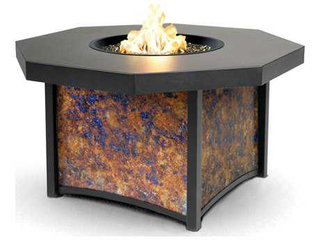 Homecrest Lunar Fusion Aluminum 42 Octagon Chat Fire Pit Table with Leather Embossed Aluminum Top