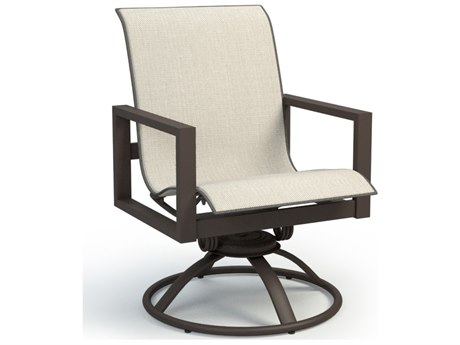 Homecrest Sutton Sling Aluminum Low Back Swivel Rocker Dining Arm Chair