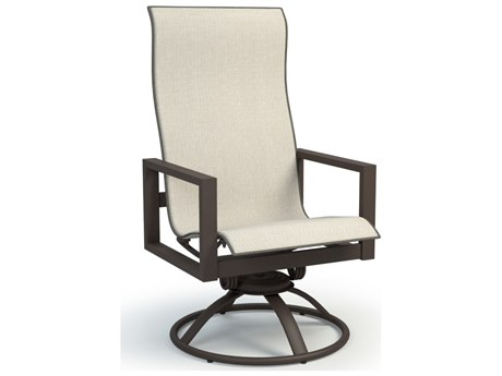 Homecrest Sutton Sling Aluminum High Back Swivel Rocker Dining Arm Chair