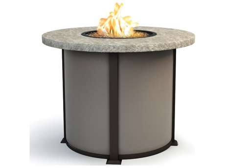 Homecrest Sandstone Aluminum 42 Round Balcony Fire Pit Table