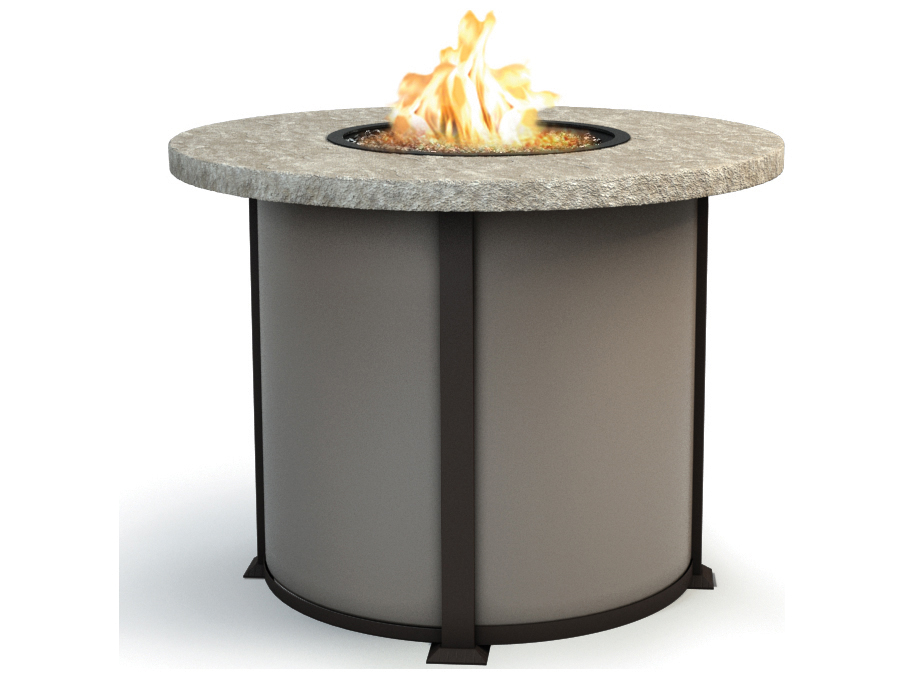 Homecrest sandstone aluminum 42 round balcony fire pit for Concreteworks fire table