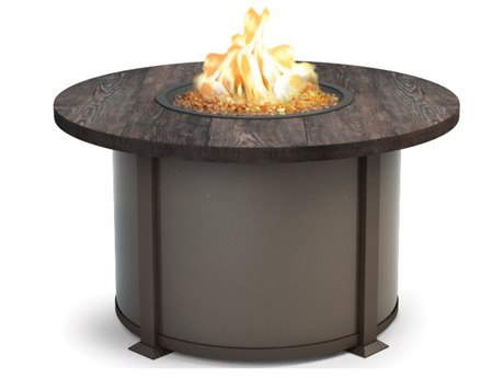 Homecrest Quick Ship Timber Aluminum 42'' Wide Round Chat Fire Pit Table