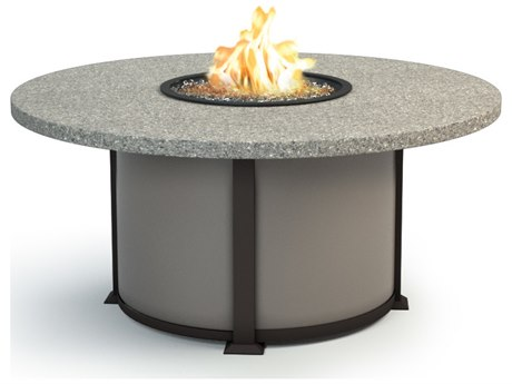 Homecrest Shadow Rock Aluminum 48 Round Chat Fire Pit Table
