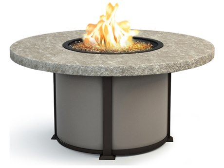 Homecrest Sandstone Aluminum 54 Round Chat Fire Pit Table