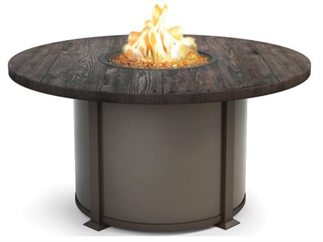 Homecrest Timber Aluminum 54 Round Dining Fire Table