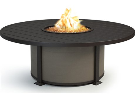 Homecrest Breeze Aluminum 54''Wide Round Coffee Height Fire Pit Table