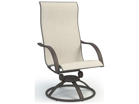 Homecrest Stella Aluminum Sling High Back Swivel Rocker Dining Arm Chair
