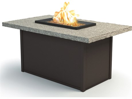 Homecrest Shadow Rock Aluminum 52 x 32 Rectangular Chat Fire Pit Table
