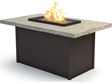 Homecrest Slate Aluminum 52 x 32 Rectangular Chat Fire Pit Table