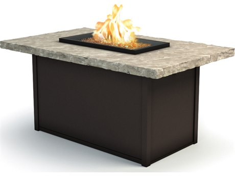 Homecrest Sandstone Aluminum 52 x 32 Rectangular Chat Fire Pit Table
