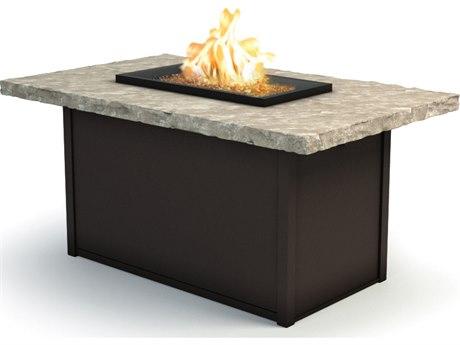 Homecrest Sandstone Aluminum 52 x 32 Rectangular Chat Fire Pit Table HC893252XCSS