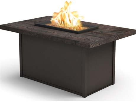 Homecrest Quick Ship Timber Aluminum 52''W x 32''D Rectangular Chat Fire Pit Table