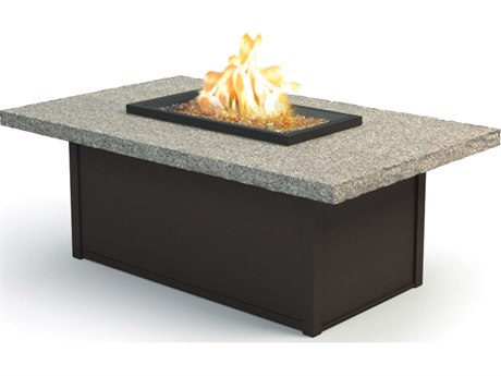 Homecrest Shadow Rock Aluminum 52 x 32 Rectangular Coffee Fire Pit Table