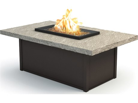 Homecrest Slate Aluminum 52 x 32 Rectangular Coffee Fire Pit Table