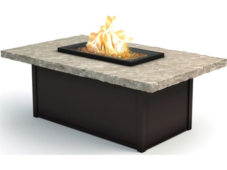 Homecrest Sandstone Aluminum 52 x 32 Rectangular Coffee Fire Pit Table
