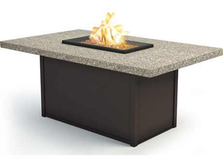 Homecrest Stonegate Aluminum 60''W x 36''D Rectangular Chat Fire Pit Table