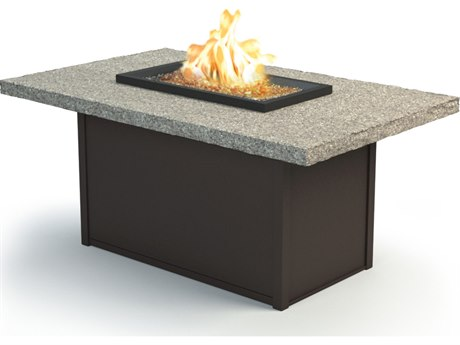 Homecrest Shadow Rock Aluminum 60 x 36 Rectangular Chat Fire Pit Table