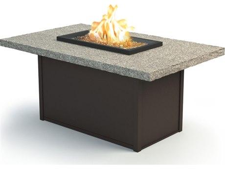 Homecrest Shadow Rock Aluminum 60 x 36 Rectangular Chat Fire Pit Table HC893660XCSH