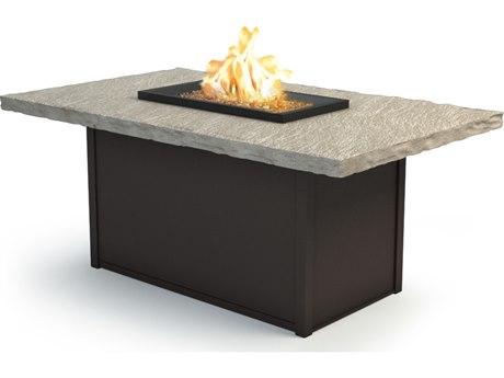 Homecrest Slate Aluminum 60 x 36 Rectangular Chat Fire Pit Table HC893660XCSL