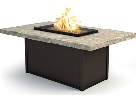 Homecrest Sandstone Aluminum 60 x 36 Rectangular Chat Fire Pit Table