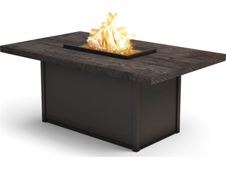 Homecrest Timber Aluminum 60''W x 36''D Rectangular Chat Fire Pit Table