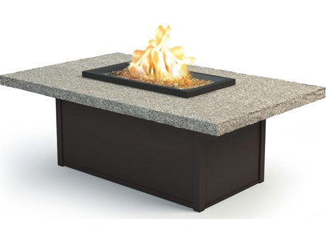 Homecrest Shadow Rock Aluminum 60 x 36 Rectangular Coffee Fire Pit Table