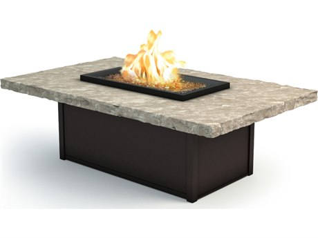 Homecrest Sandstone Aluminum 60 x 36 Rectangular Coffee Fire Pit Table